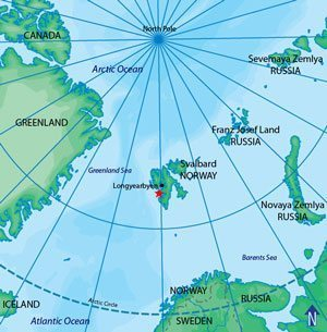 As you can see, Svalbard is almost exactly in between Norway and the North Pole