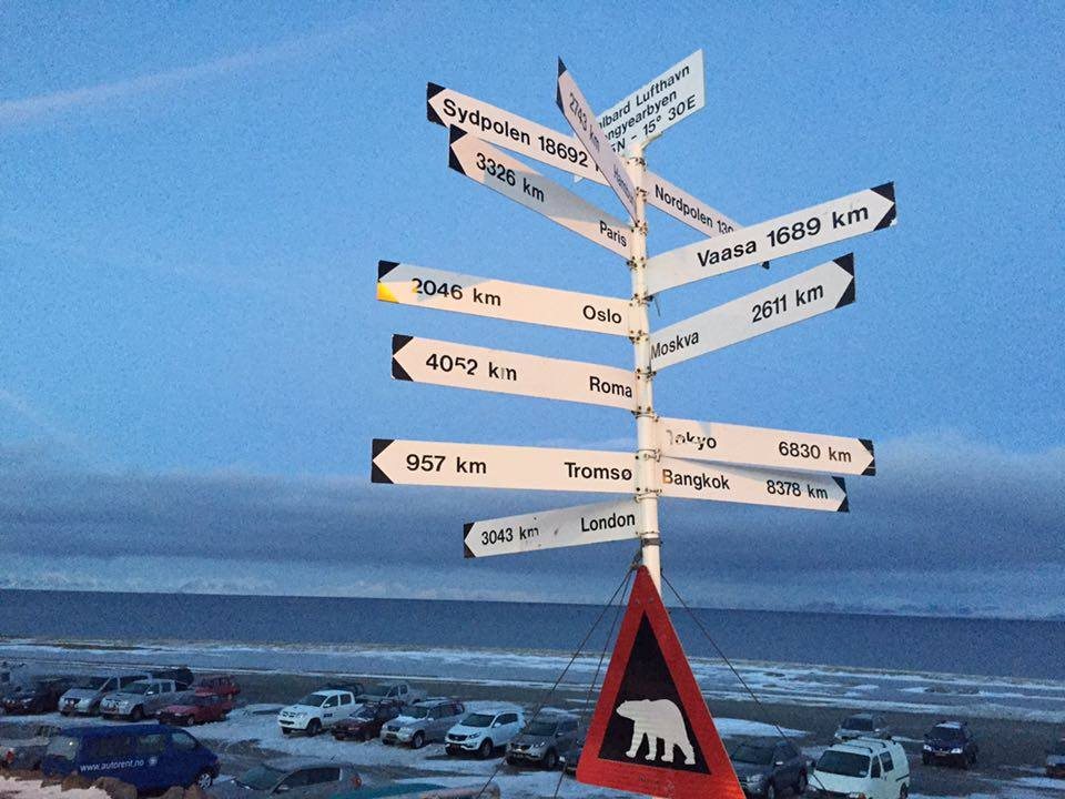 The sign tells you how far you have to run to escape a polar bear...