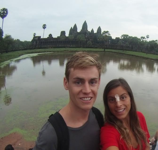 Angor Wat is a World Wonder which makes it hard to get an empty photo of it like this...don't mind Jen's nose band-aid...