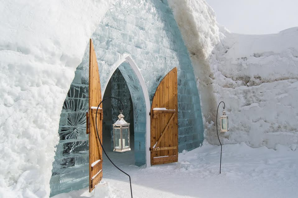 A beautiful shot of the Ice Hotel in Quebec City...seemingly without any tourists around...
