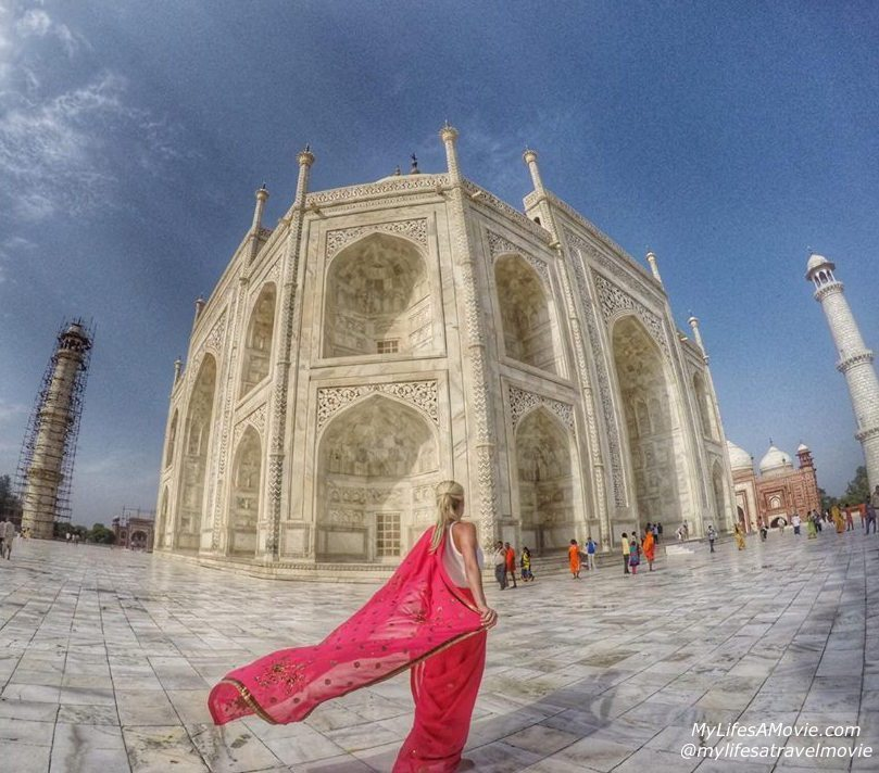 A corner of the Taj Mahal, and my first saree