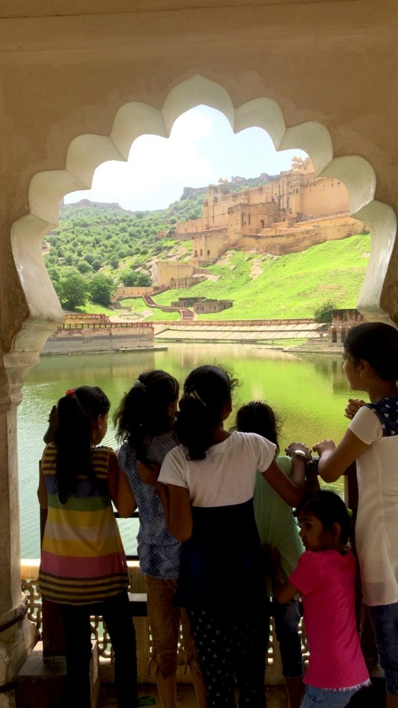 Kids accidentally photo-bombing my creative Amber Fort photo