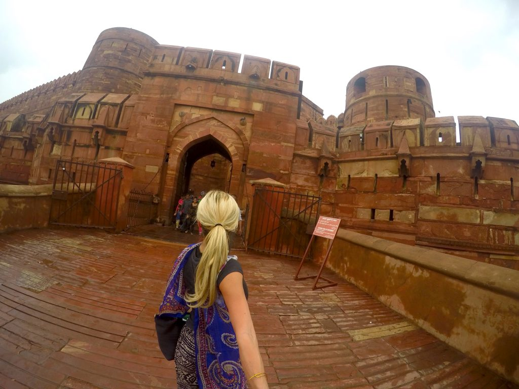 The Agra Fort - where the Emperor who had the Taj Mahal built (as a tomb for his favorite wife) was imprisoned by his son until he died