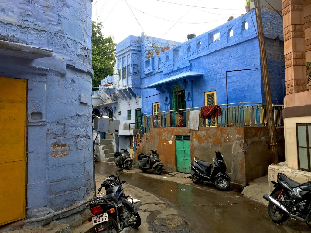 A local street with blue homes in Jodhpur