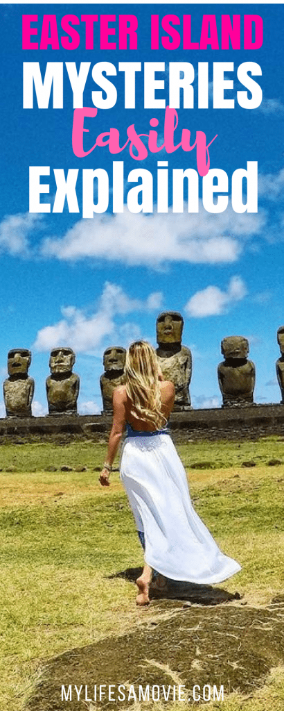 """Easter Island is an absolute must-travel-to destination, especially if you're curious about those iconic giant statues! They're called """"Moai"""" and their meaning is easily explained in this guide to Easter island mysteries!"""