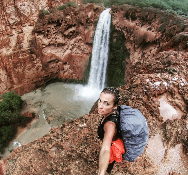 Mooney Falls is a 1/2 mile hike further than Havasu Falls, and twice as tall!
