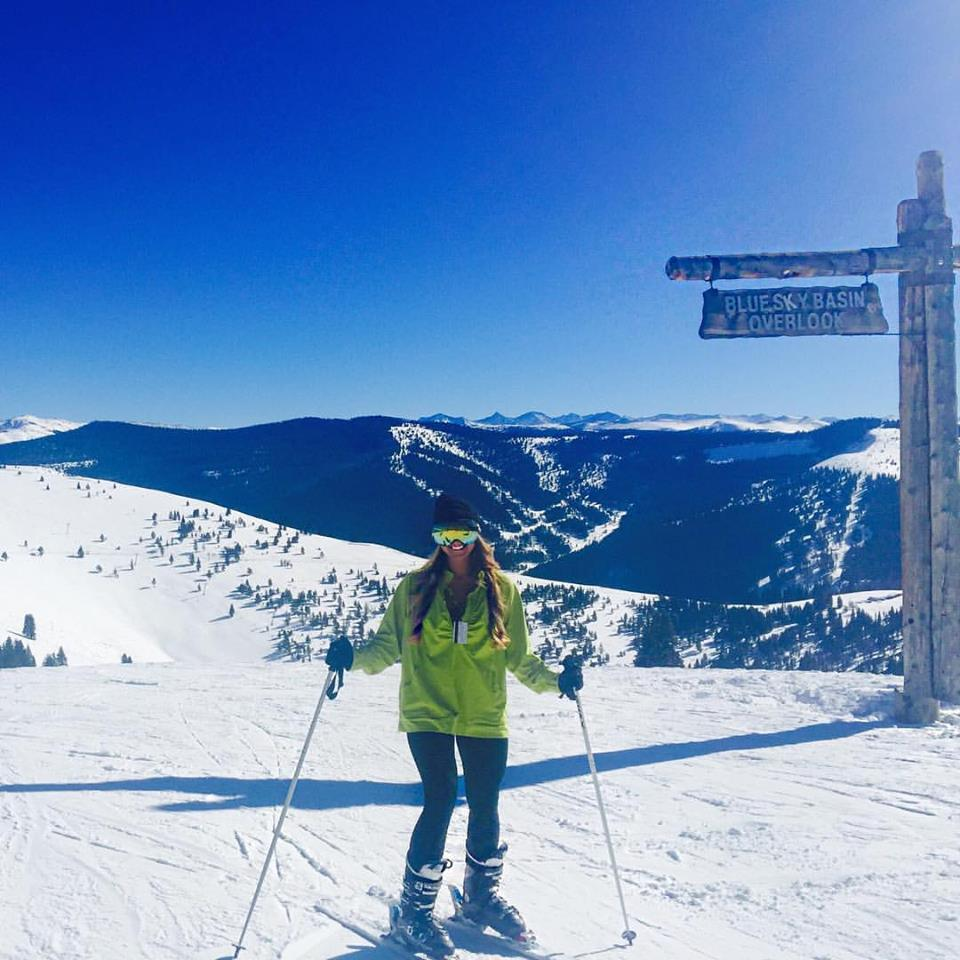 This is actually my friend Cara who lives in Denver and is really good at skiing, unlike me.