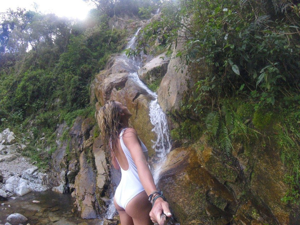 Yessss!!!! A hidden waterfall!!! Freezing, but awesome!