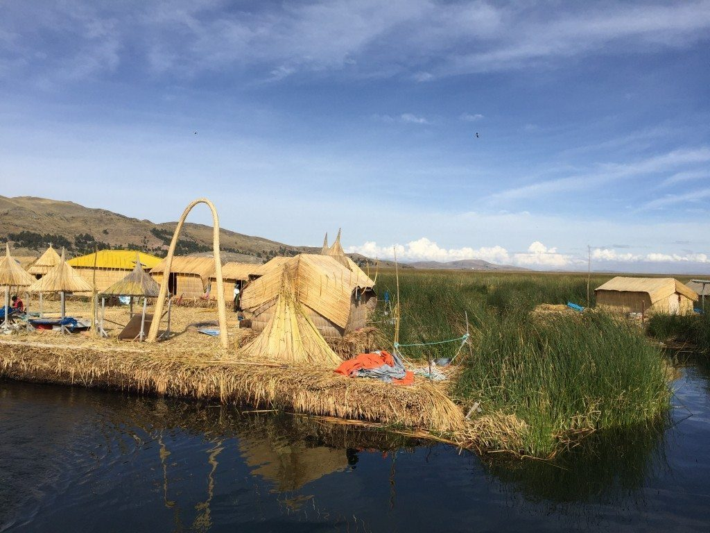 There are hundreds of man-made floating islands made from stacking reeds and building homes with them