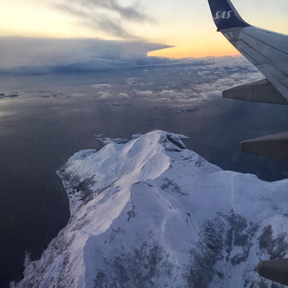 Clear skies and what seemed like a sunset over an iceberg as I landed in Tromsø