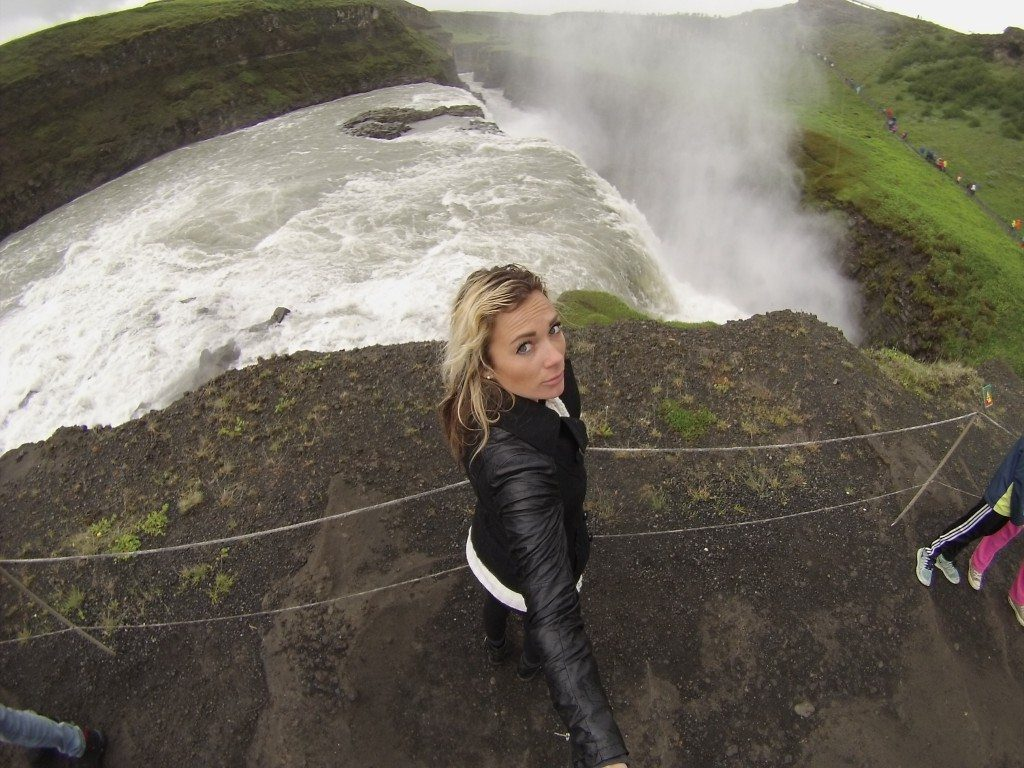 Gulfoss is the most popular waterfall in Iceland, it's also a stop on the most popular tour (The Golden Circle). I snuck a pic in an empty spot, but you can see the tourists all around me..