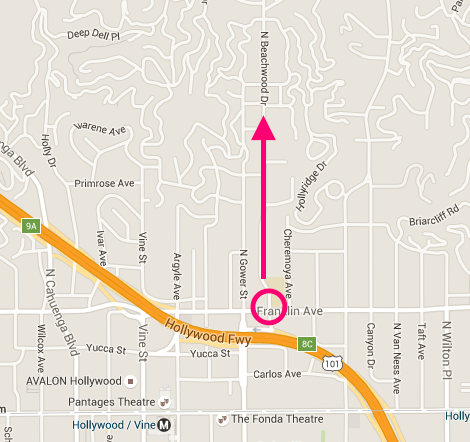 """Just search """"Franklin and Beachwood Dr."""" on your maps and it should come up here, then drive North for a mile or so"""