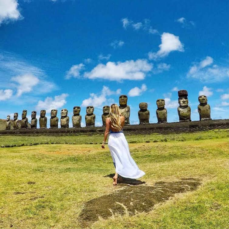 Solo traveler taking travel photos on Easter Island