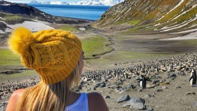 Adventure traveler being in the moment while watching penguins in Antarctica.
