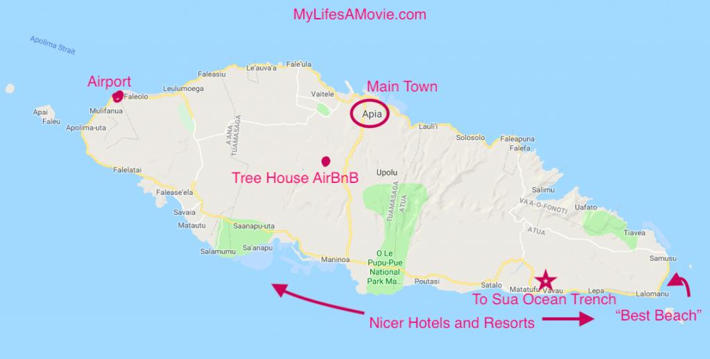 Upolo Samoa Islands map mylifesamovie.com
